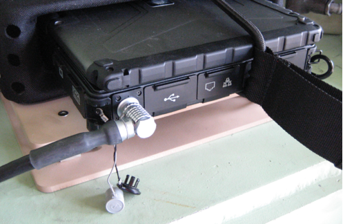 Waterproof rugged portable with Ethernet and Power Converted on a Right Angle Connector Set