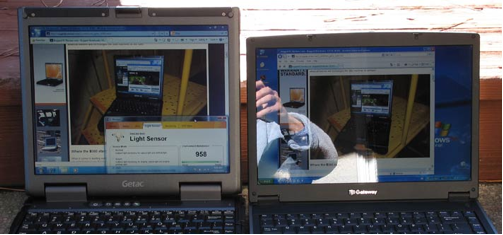 Image of Gateway and Getac laptops in sunlight