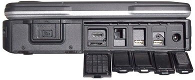With the flaps open, the connectors are usable; but unprotected