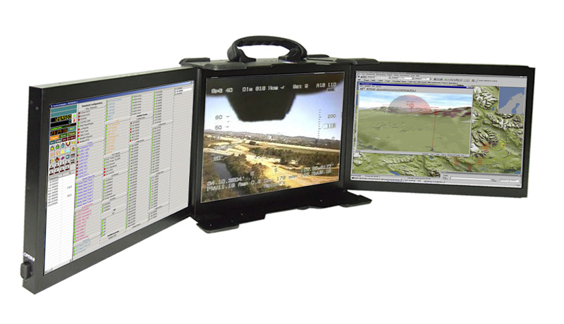 three-screen laptop display for rugged portable computers