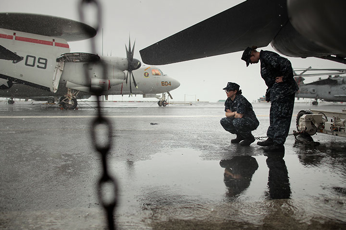Picture of a flight deck - rain pouring down