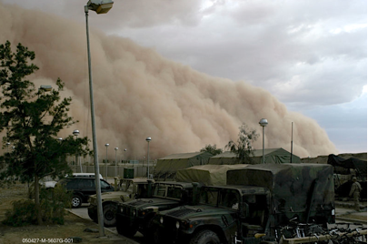 Dust storm engulfs military equipment