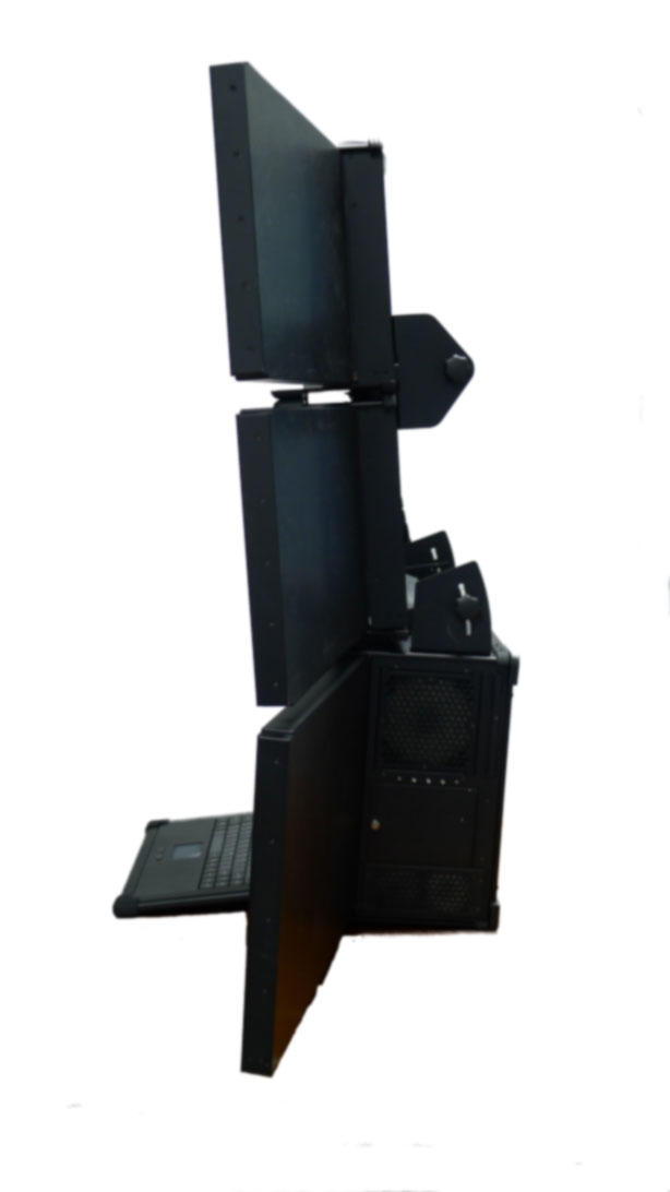 Nine-screen rugged portable workstation. View showing adjustable brackets for ergonomic adjustability