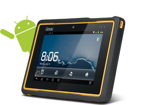 Android tablet with green android peeking
