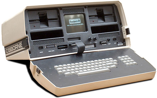 "Osborne 1 with 5"" crt and 51/4"" floppy disk drives"