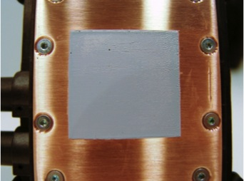CPU heat plate with thermal compound applied