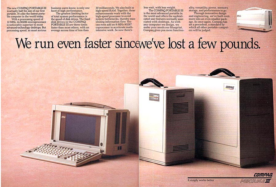Advert for Compaq Portable III showing reduction in size from previous generations -1987