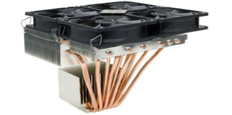 Extreme heat piped CPU cooler is difficult to ruggedize and quite massive