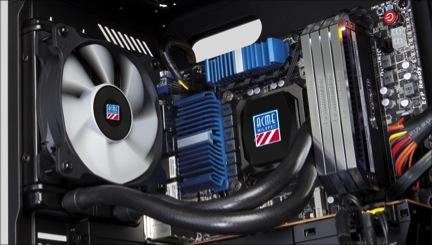Ruggedized water CPU cooler installed in AGS rugged portable system
