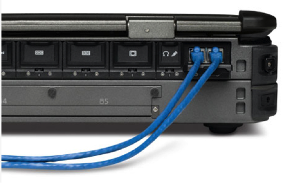 Two of Four independent LAN Ports - rear
