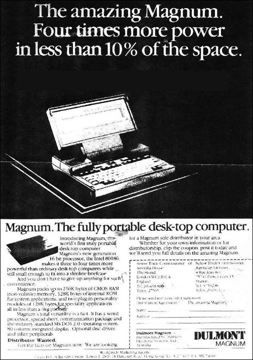 Advert for a Dulmont Magnum