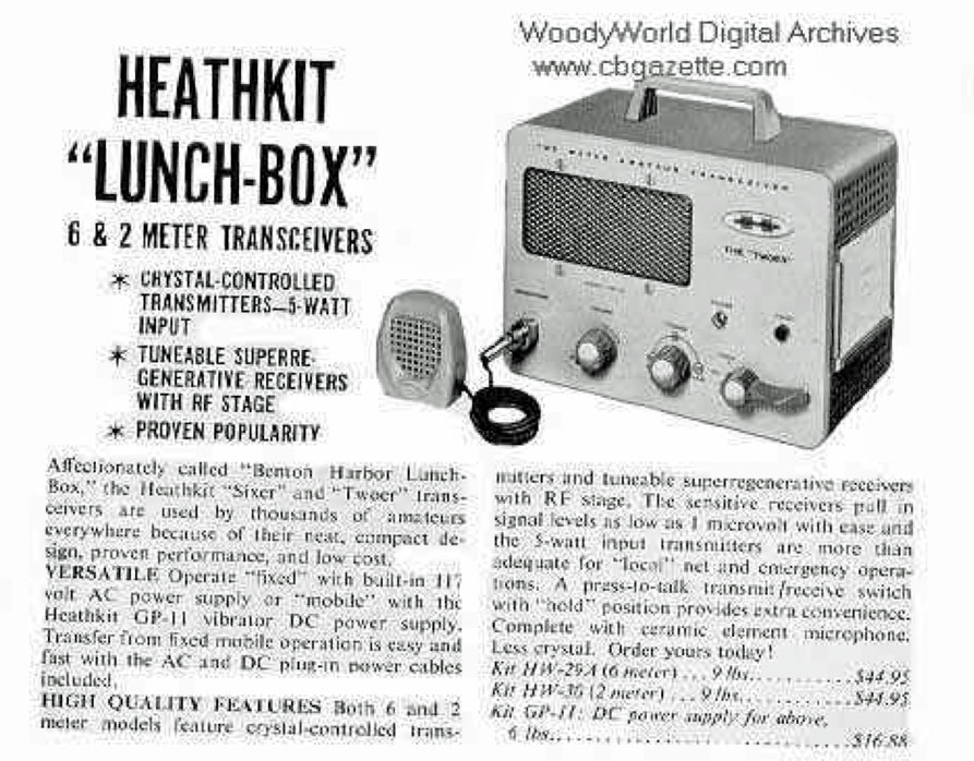 "Heathkit ""Lunchbox"" Transceiver advert - 2 and 6 meter transceivers - $44.95"