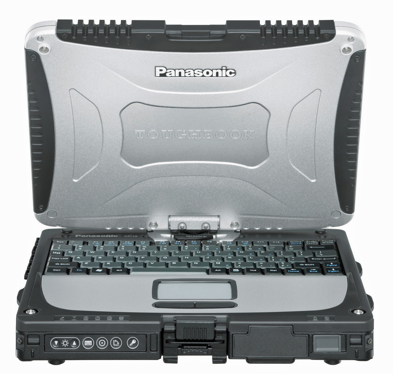 Panasonic toughbook with screen fully twisted to turn into a tablet