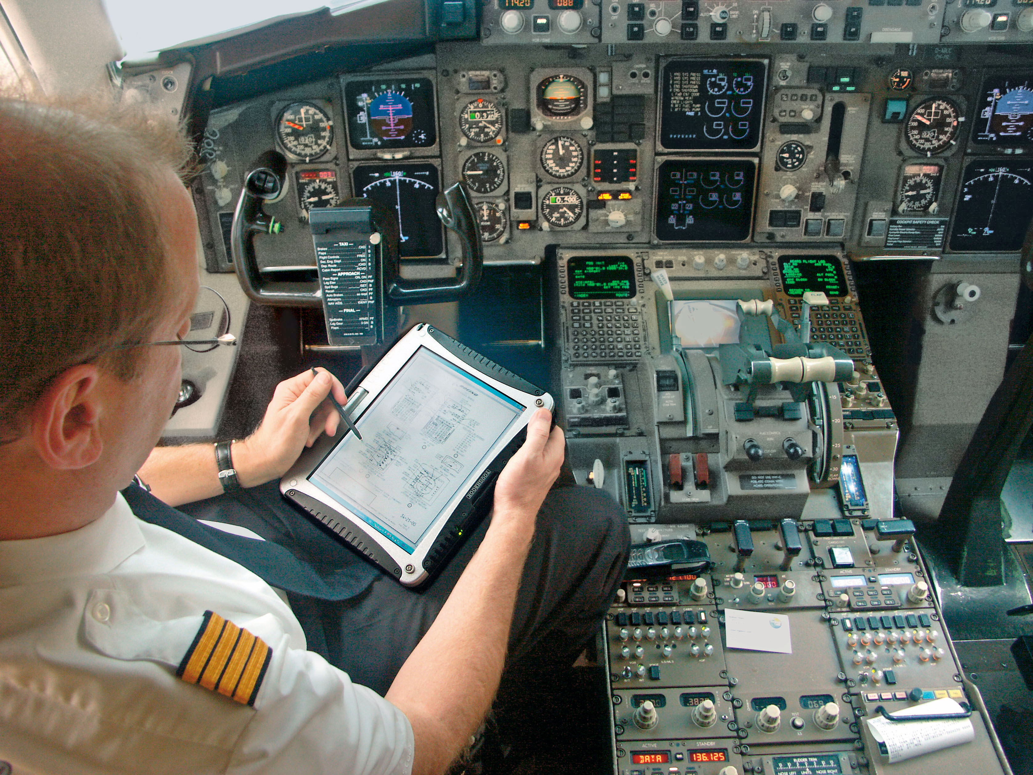 Ruggedized tablet in an aircraft cockpit.