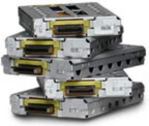 Five removable drives in shock mount canisters