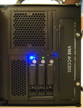 Side view shows RAID array and VME slot