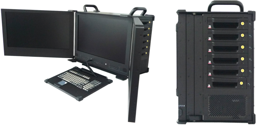 "three screen ISR computer with 23"" displays"
