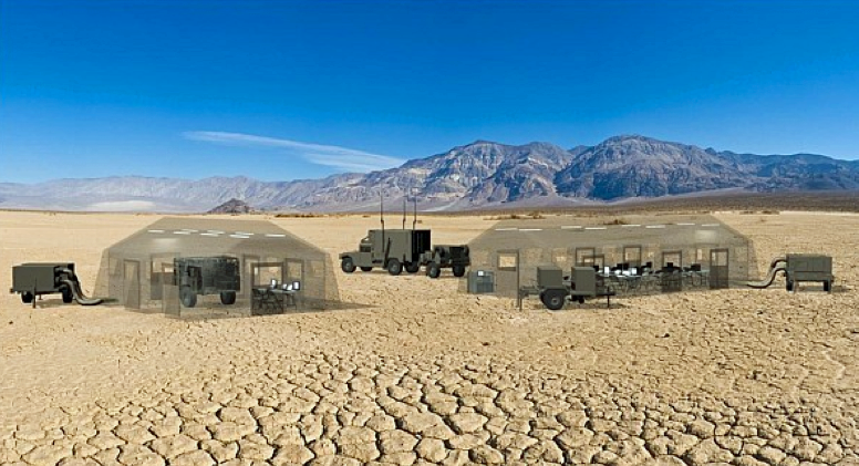 Tents in a desert - command center - poor internet