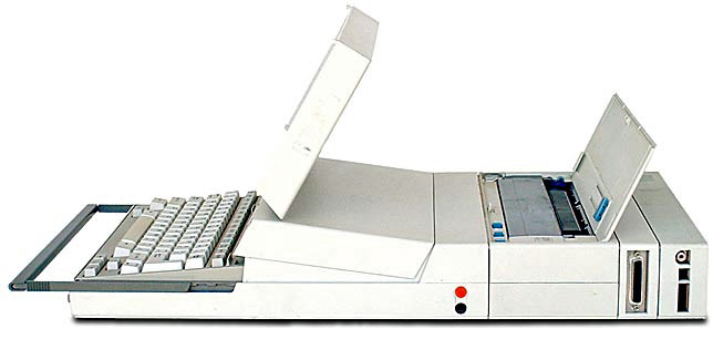 side view of long laptop with printer
