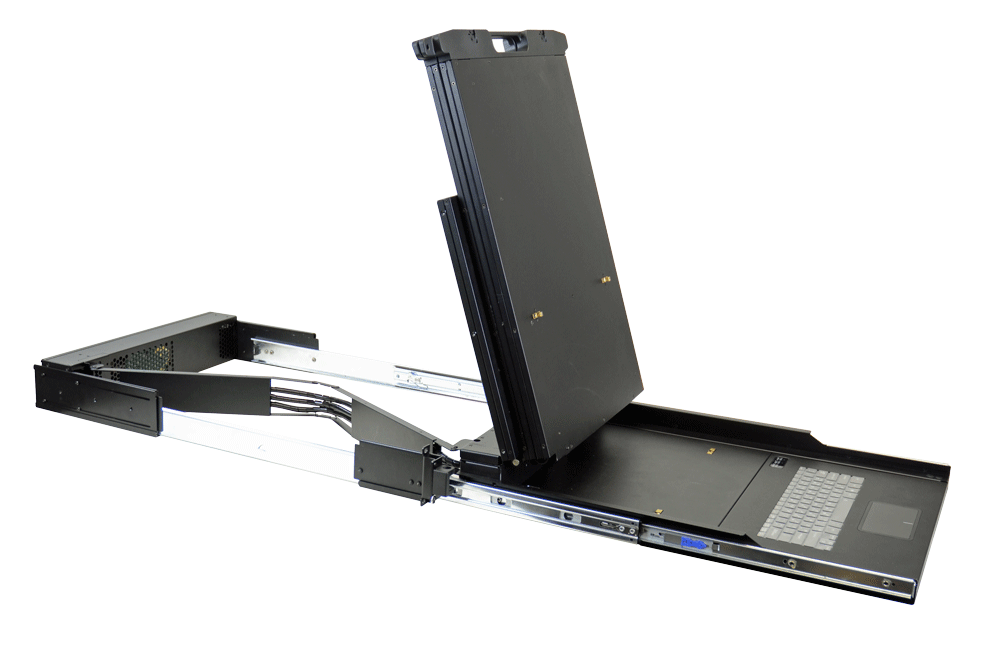 "24"" Class Dual display rotates and slides into 2U rack-mount slot"