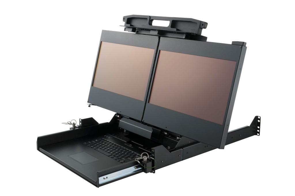 "Dual-Display Rack Mount Monitor 17"" open"