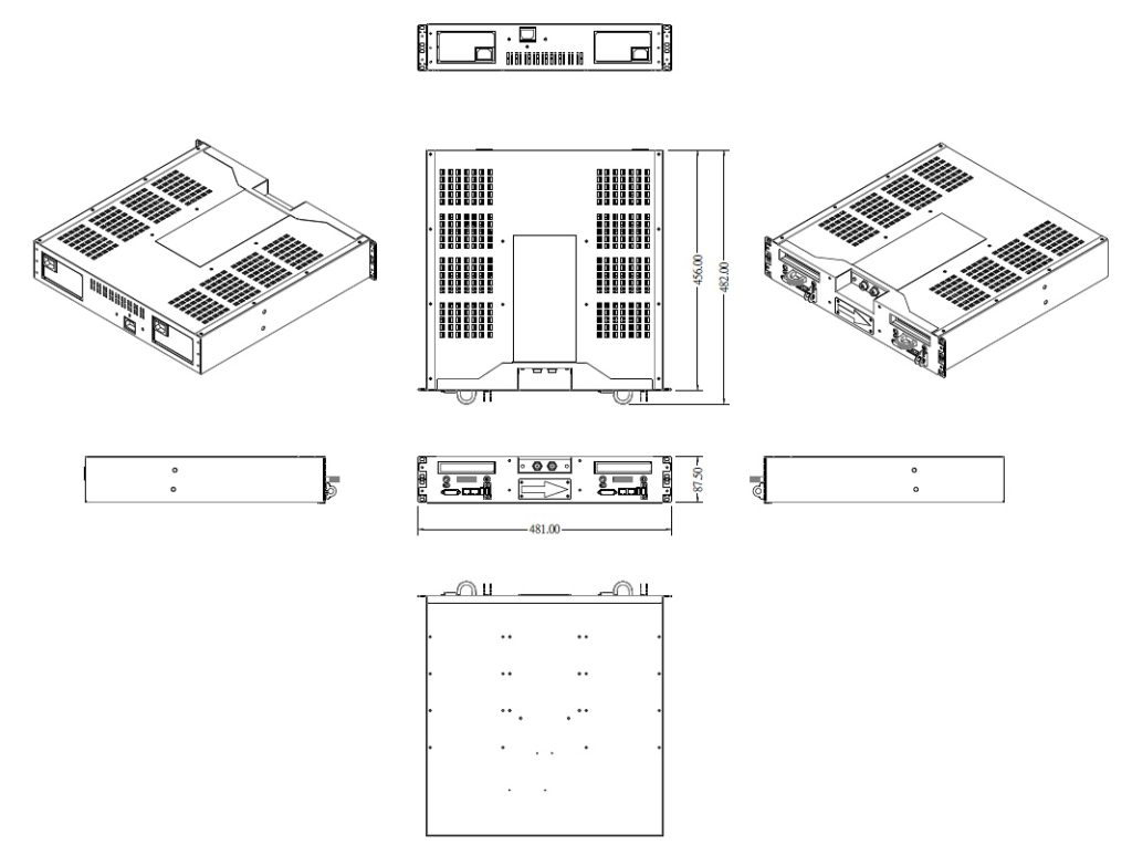 Dimension drawings of Dual Server for Data Diode