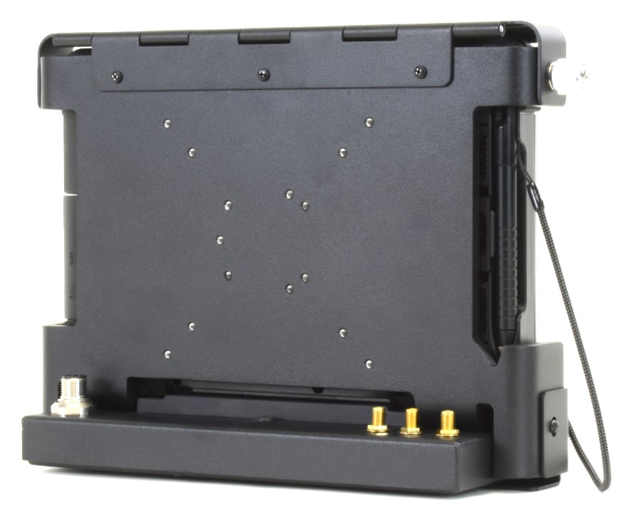 Rugged T800 tablet installed in port replicating vehicle dock showing IO connectors viewed from the left rear